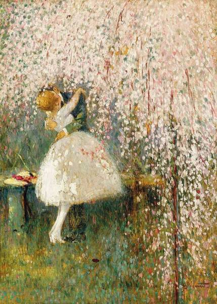 Georges Picard French 1857 1946 Romance Under The Blossom Tree Art Print