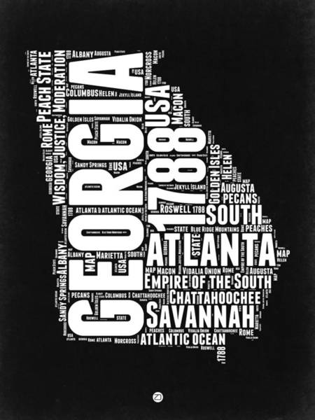 Wall Art - Digital Art - Georgia Black And White Word Cloud Map by Naxart Studio