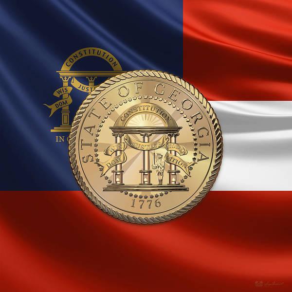 Digital Art - Georgia State Seal Over Flag by Serge Averbukh