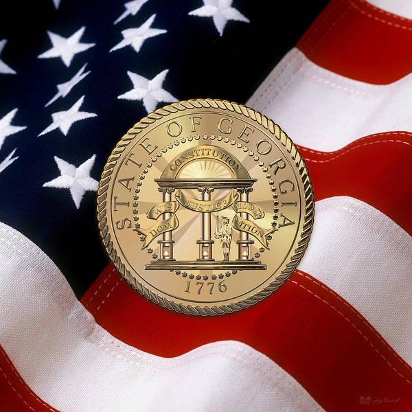 Digital Art - Georgia State Seal Over U. S. Flag by Serge Averbukh