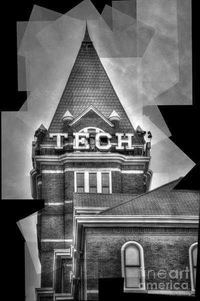 Wall Art - Photograph - Georgia Tech Tower Abstract B W Georgia Institute Of Technology Art by Reid Callaway