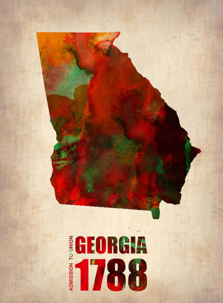 Wall Art - Digital Art - Georgia Watercolor Map by Naxart Studio