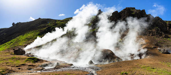 Photograph - Geothermal Area With Steaming Hot Springs In Iceland by Matthias Hauser
