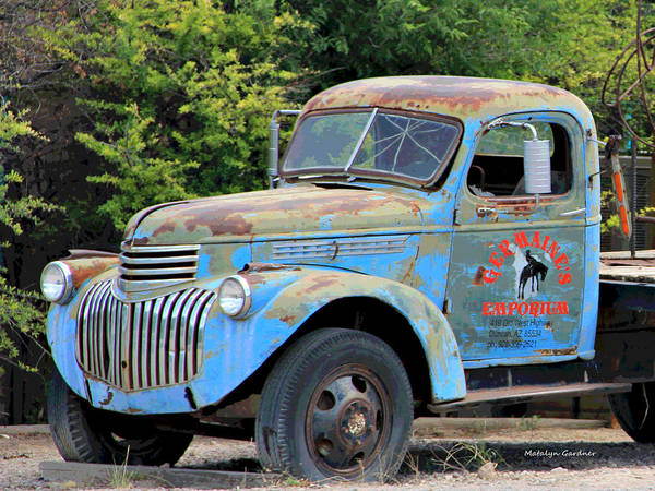 Photograph - Geraine's Blue Truck by Matalyn Gardner