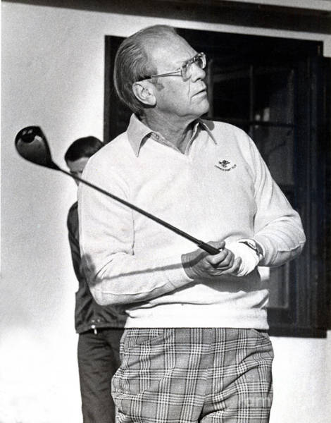 Photograph - Gerald Ford 1913-2006 At The Pebble Beach Golf Course In 1977   by California Views Archives Mr Pat Hathaway Archives