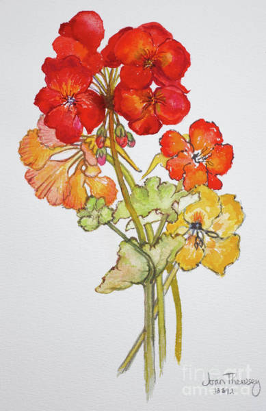 Red Geraniums Wall Art - Painting - Geranium And Nasturtiums by Joan Thewsey