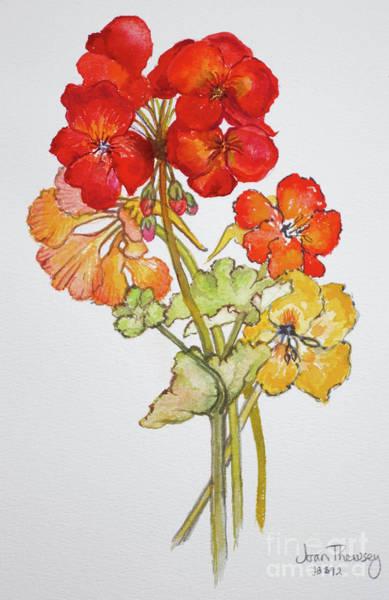 Nasturtiums Wall Art - Painting - Geranium And Nasturtiums by Joan Thewsey