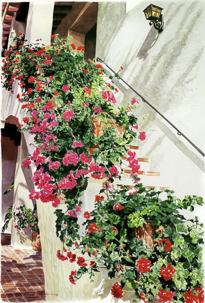 Wall Art - Painting - Geranium Staircase  by David Lloyd Glover