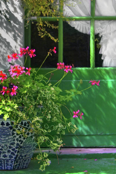Wall Art - Photograph - Geraniums And Green Door With Curtain by Nikolyn McDonald