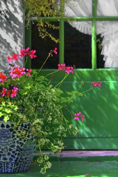 Wall Art - Photograph - Geraniums And Green Door With Curtain by Nikolyn McDonald