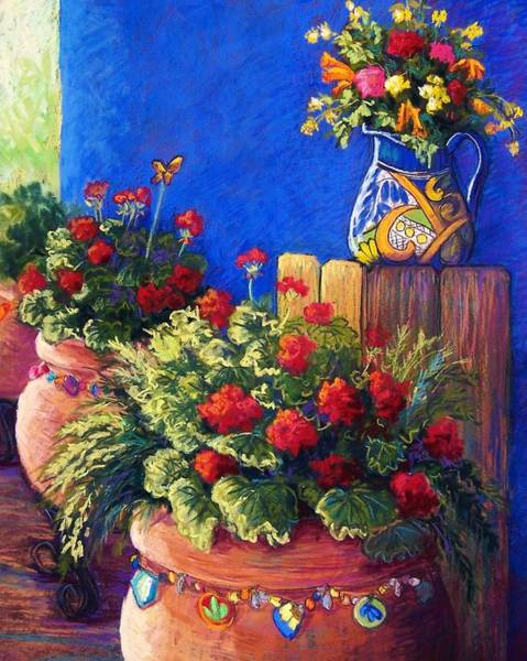 Geranium Wall Art - Pastel - Geraniums And Talavera by Candy Mayer