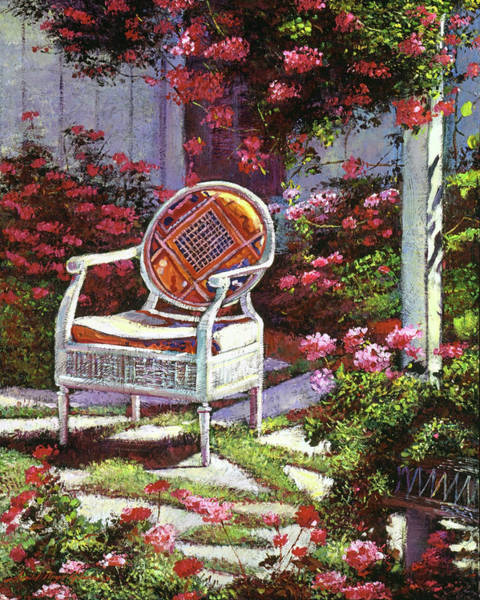 Red Geraniums Wall Art - Painting - Geraniums And Wicker by David Lloyd Glover