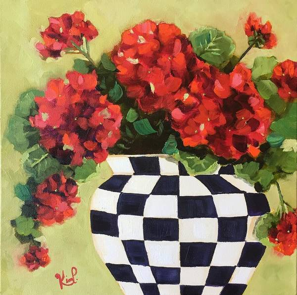 Red Geraniums Wall Art - Painting - Geraniums I by Kim Peterson