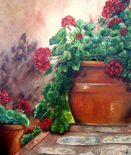Painting - Geraniums On A Stone Wall by Susan Dehlinger
