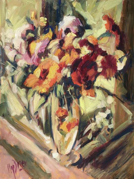Painting - Gerberas In Glass Vase by Nop Briex
