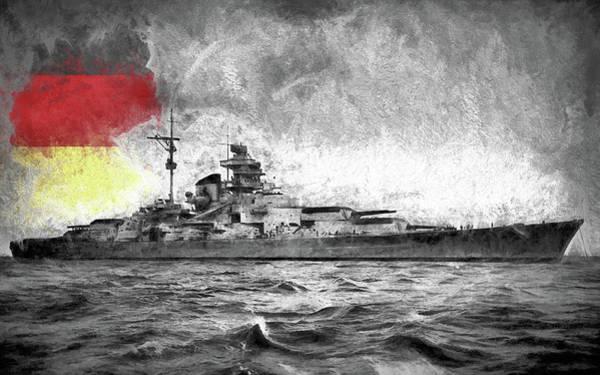 Digital Art - German Battleship Tirpitz by JC Findley