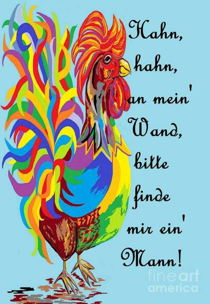 Lucky Charm Painting - German Folklore Roosters And Husbands Auf Deutsch by Eloise Schneider Mote