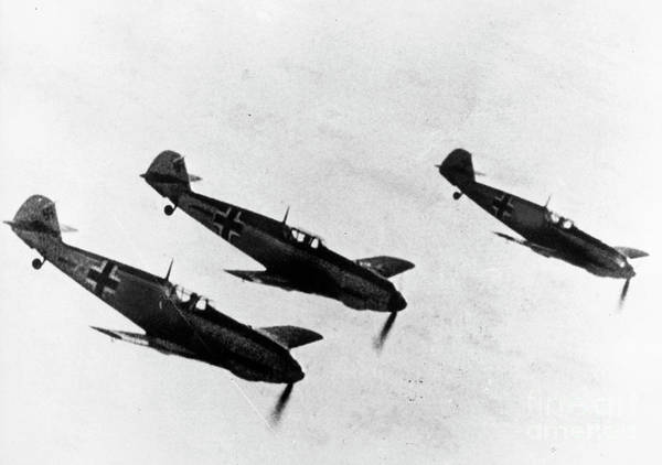 Photograph - German Messerschmitt Fighter Planes. For Licensing Requests Visit Granger.com by Granger