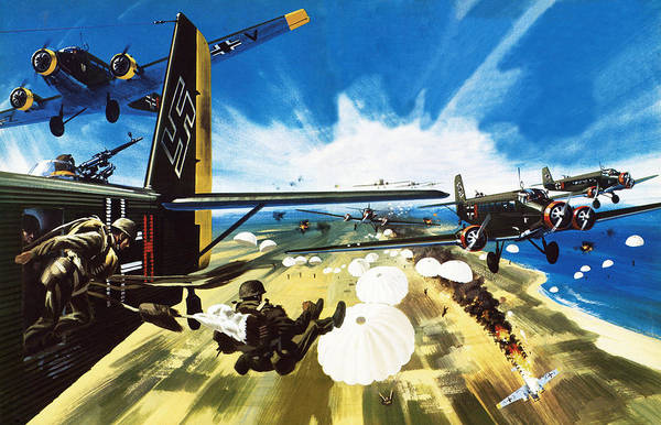 Luftwaffe Wall Art - Painting - German Paratroopers Landing On Crete During World War Two by Wilf Hardy
