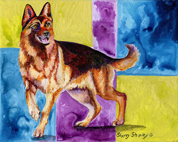 Painting - German Shepard Too by Sherry Shipley