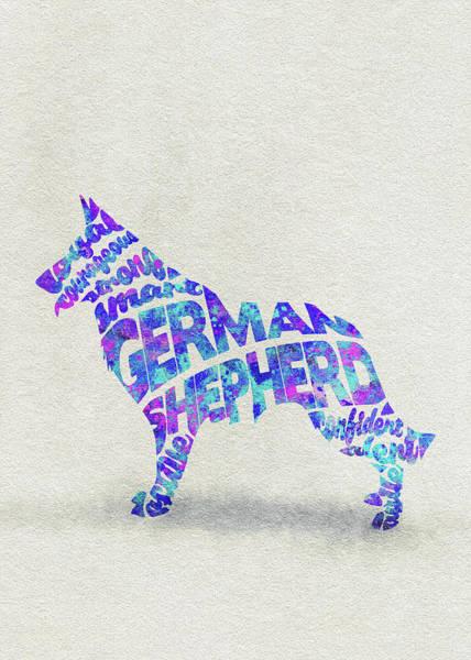 Painting - German Shepherd Dog Watercolor Painting / Typographic Art by Inspirowl Design