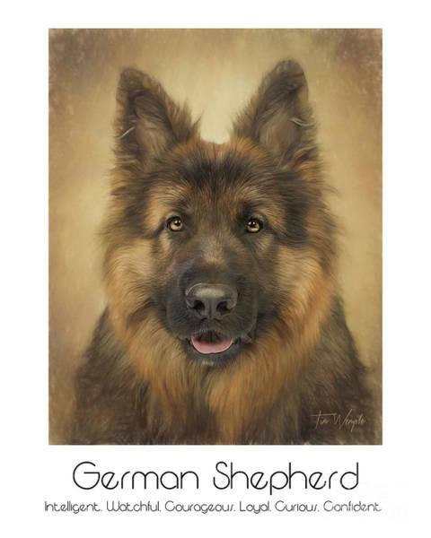 Digital Art - German Shepherd Poster by Tim Wemple