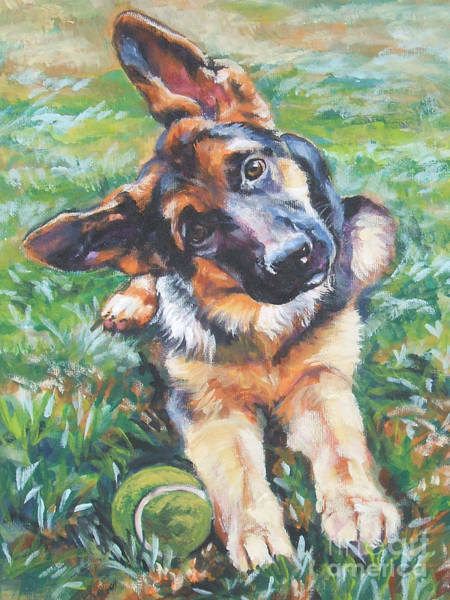 Wall Art - Painting - German Shepherd Pup With Ball by Lee Ann Shepard
