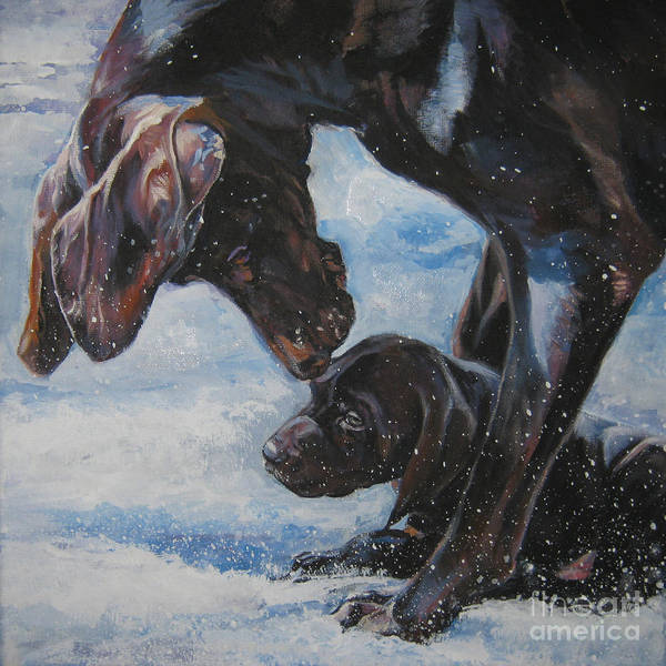 German Pointer Painting - German Shorthaired Pointer And Puppy by Lee Ann Shepard