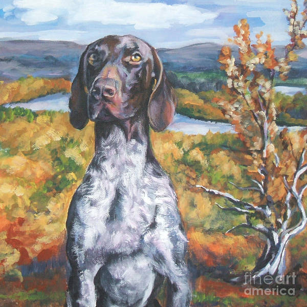 German Pointer Painting - German Shorthaired Pointer Autumn by Lee Ann Shepard