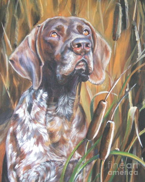 German Pointer Painting - German Shorthaired Pointer In Cattails by Lee Ann Shepard