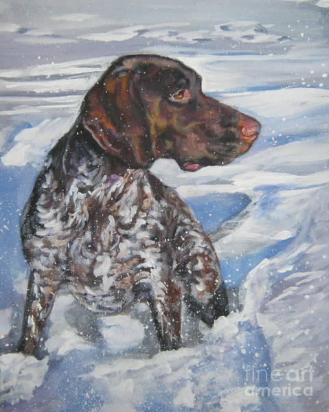 German Pointer Painting - German Shorthaired Pointer In The Snowdrift by Lee Ann Shepard