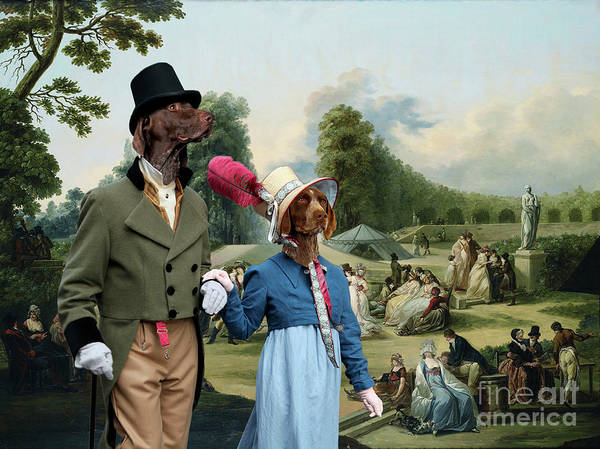 German Pointer Painting - German Shorthaired Pointer - Kurzhaar Art Canvas Print - The Summer Party by Sandra Sij