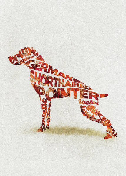 German Pointer Painting - German Shorthaired Pointer Watercolor Painting / Typographic Art by Inspirowl Design
