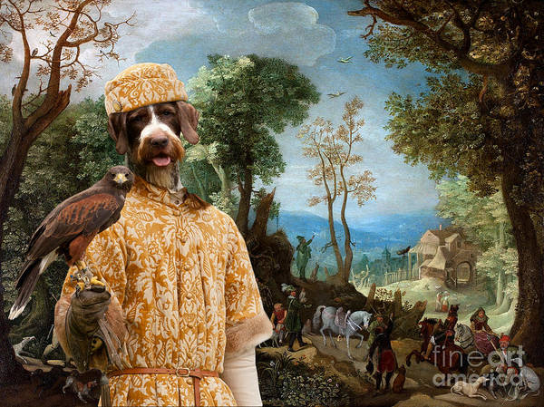German Pointer Painting - German Wirehaired Pointer Art Canvas Print - Landscape With Hunters by Sandra Sij