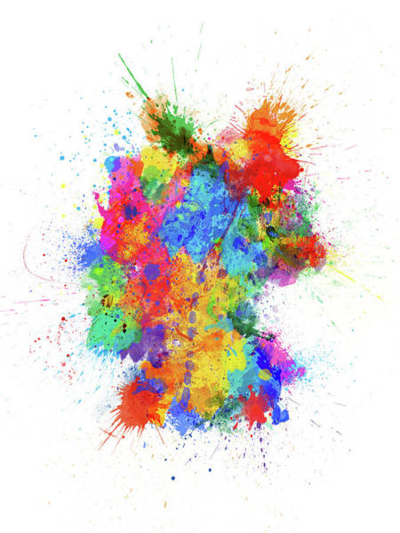 Wall Art - Digital Art - Germany Paint Splashes Map by Michael Tompsett