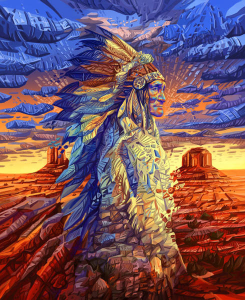 Sioux Wall Art - Painting - Geronimo Decorative Portrait by Bekim M