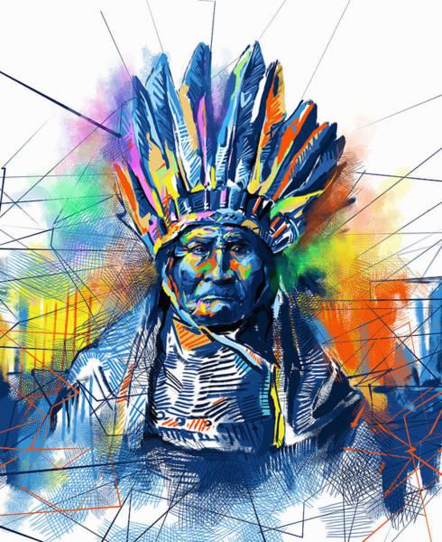 Native Headdress Painting - Geronimo Watercolor Portrait by Bekim M