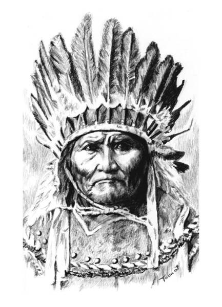Drawing - Geronimo With Feathers by Toon De Zwart
