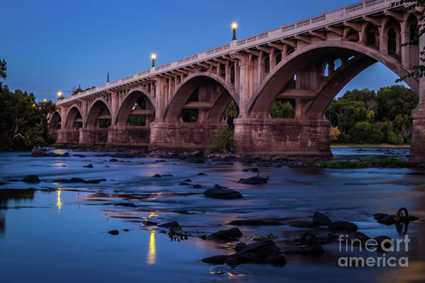 Photograph - Gervais St. Bridge At Twilight-1 by Charles Hite