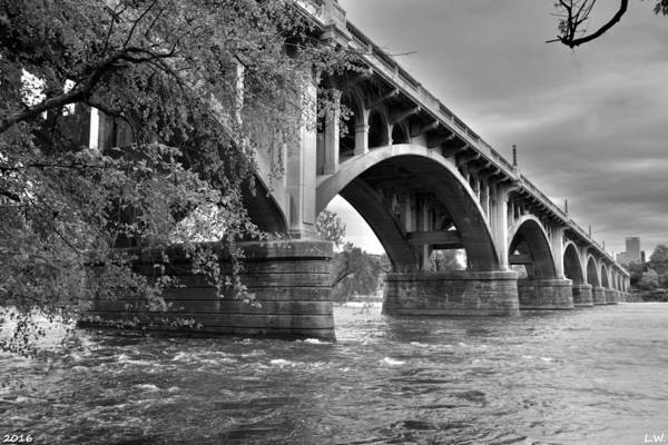 Photograph - Gervais Street Bridge Black And White 2 by Lisa Wooten