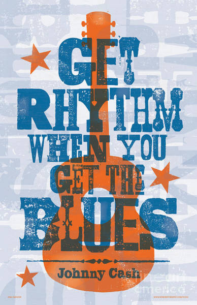 Nashville Wall Art - Digital Art - Get Rhythm - Johnny Cash Lyric Poster by Jim Zahniser