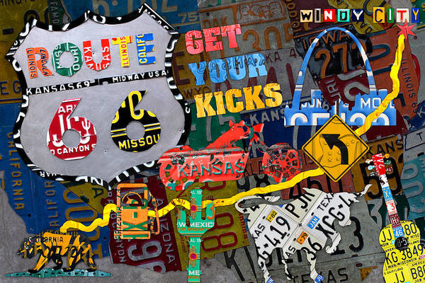 Wall Art - Mixed Media - Get Your Kicks On Route 66 Icons Along The Highway Recycled Vintage License Plate Art by Design Turnpike