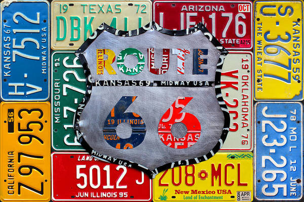 Wall Art - Mixed Media - Get Your Kicks On Route 66 Recycled Vintage State License Plate Art By Design Turnpike by Design Turnpike