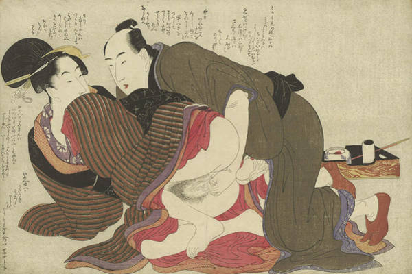 Having Sex Painting -  Getrouwde Man En Weduwe by Kitagawa Utamaro