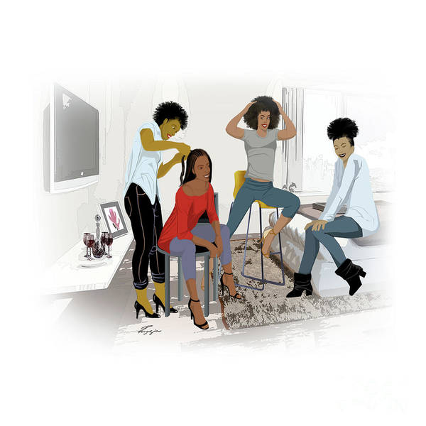 Painting - Getting Hair Did In Style by Reggie Duffie