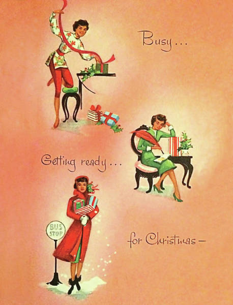 Ready Painting - Getting Ready For Christmas, Vintage Greeting Card by Long Shot