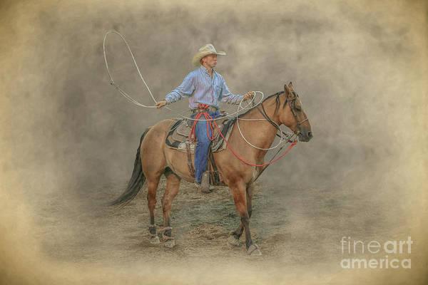 Bucking Bronco Digital Art - Getting Ready Rodeo Calf Roping by Randy Steele