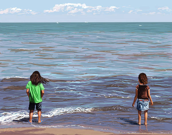 Sand Creek Painting - Getting Their Feet Wet by Shawna Rowe