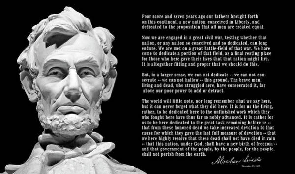 Wall Art - Photograph - Gettysburg Address  1863 by Daniel Hagerman