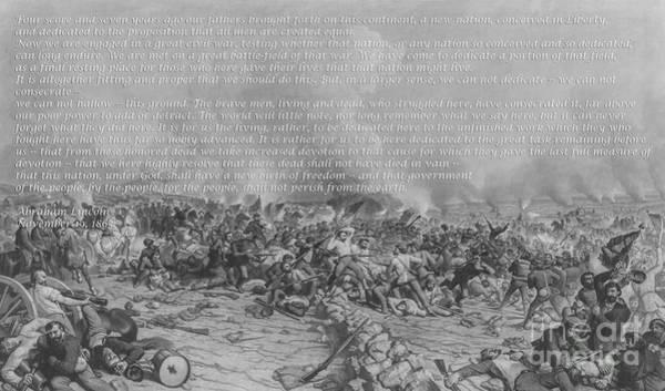 Gettysburg Address Wall Art - Digital Art - Gettysburg Address Battle Print by Randy Steele